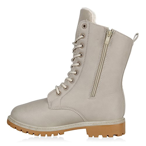 Stiefelparadies Warm Gefütterte Damen Stiefeletten Worker Boots Kunstfell Schuhe Flandell Creme