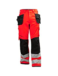 Helly Hansen 77413_169-C60 Class 2 Hi-Vis Pants with Alna Construction, C60, Red/Charcoal
