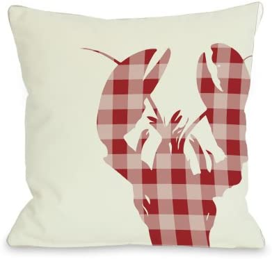 One Bella Casa Plaid Lobster Throw Pillow by OBC, 26 x 26 , Ivory Red