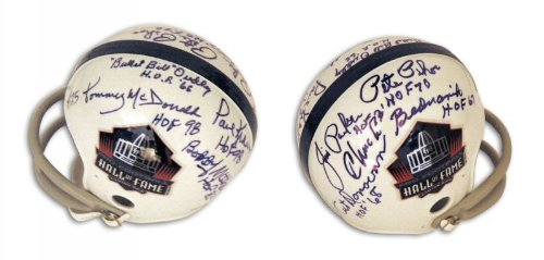 Pro Football Hall of Fame Mini Helmet Autographed and Inscribed by 8 Players - 100% Authentic Autograph - Genuine NFL Signature - Perfect Sports (Hall Of Fame Autographed Football)