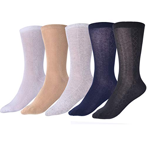 Ultra Thin Summer Cotton Mesh Socks for Men Breathable Diabetic Dress Socks Ankle Length 3 Pairs (5 pairs mix, ONE SIZE FITS ALL)