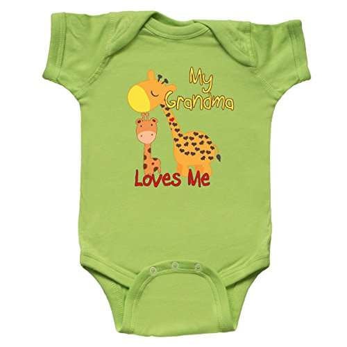inktastic - My Grandma Loves Me Giraffe Infant Creeper 6 Months Key Lime ()