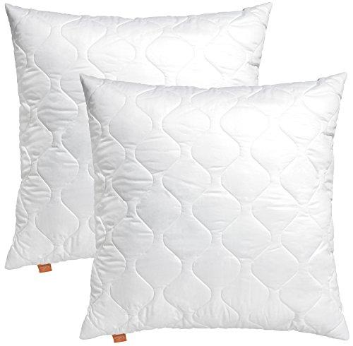 2er Set sleepling 191116 Basic 100 Kopfkissen Mikrofaser Sofakissen 50 x 50 cm, weiß