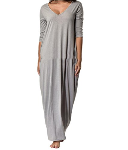 Women Oversized Grey Solid A Flared Coolred Swing Backless V Neck Line Dress SqBpqwd5