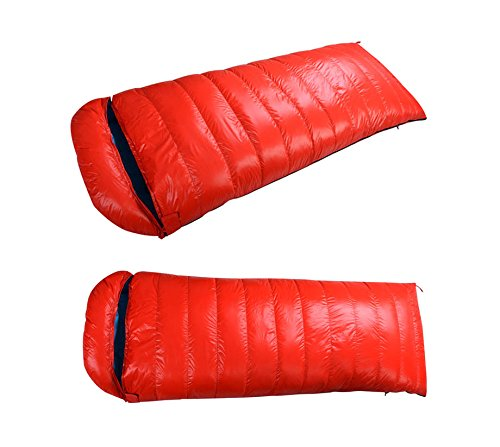 -10 Degree Outdoor Camping Hiking Cold Winter Envelope Sleeping Bag Duck Down Sleeping Bag 1000 fill (Orange) For Sale