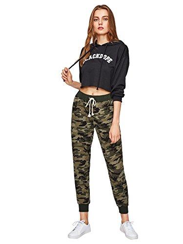 926c2f290d8 SweatyRocks Women Pants Color Block Casual Tie Waist Yoga Jogger Pants