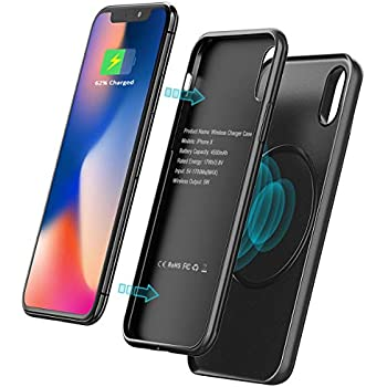 meet 98453 7e766 iPhone X Battery Case, 4500mAh [Wireless Charger] Power Bank, Vproof 2 in 1  Magnetic Slim Charging Case for iPhone X, Rechargeable Extended Portable ...