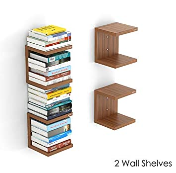 Bluewud Alvin Wall Mount Book Shelf Rack/Display Case (Set of 2) - Ideal for Gift. Wall Shelves at amazon