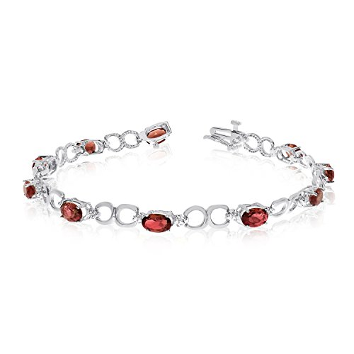 "4.70 Carat (ctw) 10k White Gold Oval Red Garnet and Diamond Open Link Tennis Bracelet - 7"" Length"