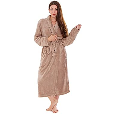 Universal Unisex Plush Kimono Robe / Bathrobe w/ Waist Tie Closure Pockets Latte