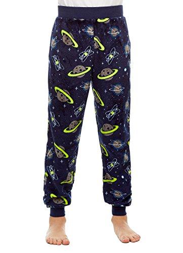 Pants Fleece Boys Pajama (Boys Pajama Bottoms | Cozy Flannel Fleece Space Jogger Style PJ Pants - M)