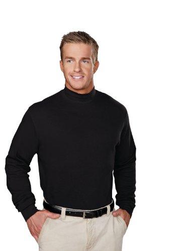 Turtleneck Mock Cotton Golf - Tri-Mountain 100% Cotton Golf Cut Spandex Stretch Shirt - 620 Graduate, Black, Large