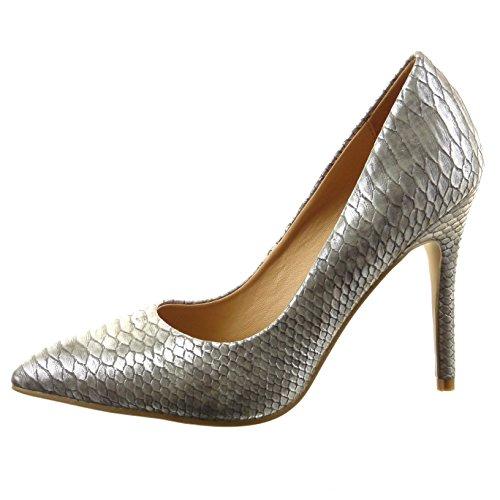Sopily - Zapatillas de Moda Tacón escarpín decollete stiletto Tobillo mujer piel de serpiente Talón Tacón de aguja alto 10.5 CM - Plata