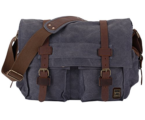 DSLR Gadget Bag, Berchirly Canvas+Leather Trim Flap-over Messenger Bag Vintage Shoulder Commuter Bag 14.7 Inch (Olympus Gadget Bag)