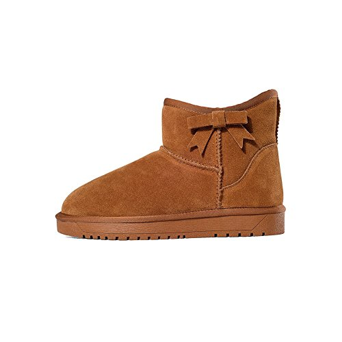Solid Women's Boots Pull Low Imitated Heels Low Suede Snow Camel on top AmoonyFashion aAx6qq