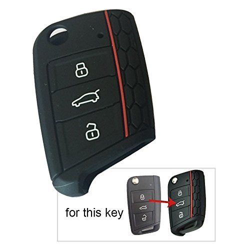 7 GTI MK7/Skoda Octavia A7/Seat Leon Key Cover Volkswagen Golf VII Silicone Car Key 3 Button Flip Remote Fob Protector Skin Shell Jacket 1PC Black ()