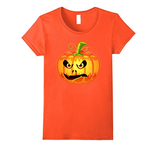 Womens Halloween Pumpkin Lantern - Scary Face Costume Shirt Large Orange