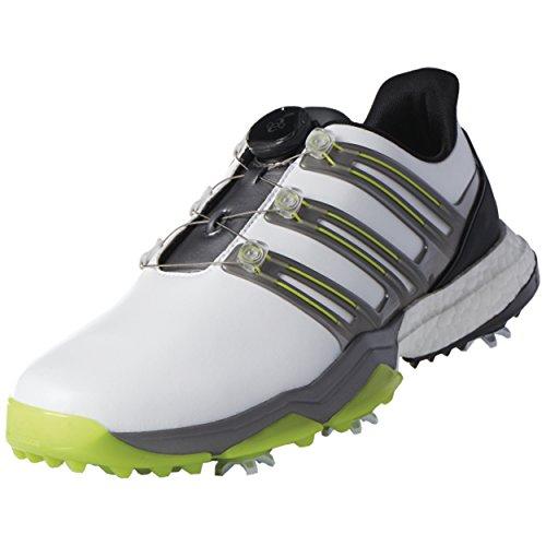 adidas Powerband Boa Boost Golf Shoes,White/Iron Metallic/Solar Slime,10 M US (Boost Solar)