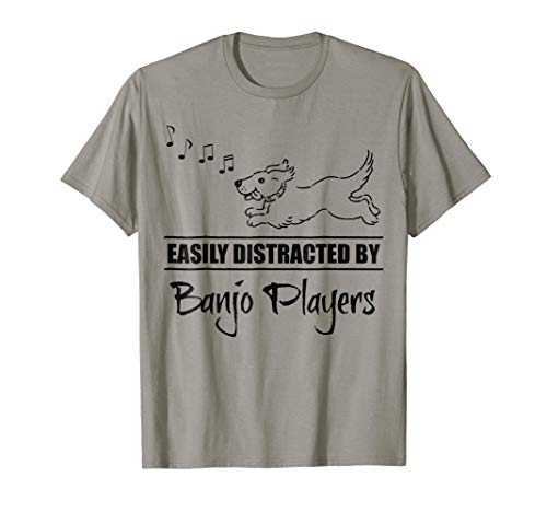 Running Dog Easily Distracted by Banjo Players Music Notes T-Shirt