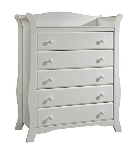 Stork Craft Avalon 5 Drawer Universal Dresser, White by Stork Craft