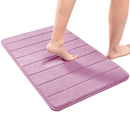 "Memory Foam Bath Mat Non Slip Absorbent Washable Quick Dry Soft Cozy Velvet Bathroom Rug Carpet (2032 "", Purple)"
