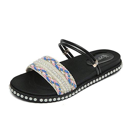 DDLBiz Women Fashion Flat Shoes Crystal Sandals Peep-Toe Flip Flop Slipper Shoes (US:6(9.1''-9.3