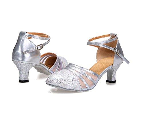 Meijili - Zapatillas de danza para mujer plata