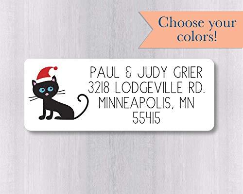 (60ct - Christmas Santa Hat Cat Return Address Stickers/Labels (#354-WH))