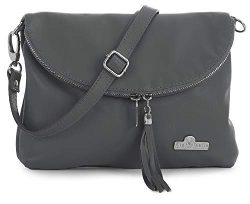 LIATALIA Real Italian Soft Leather Messenger Cross Body Shoulder Bag Small/Medium Size - AMY Dark Grey