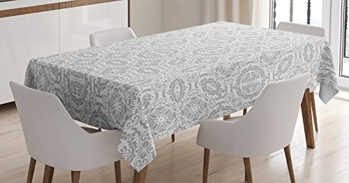 Ambesonne Grey Decor Tablecloth, Lace Victorian Damask Antique Baroque Design with Oriental Effects Renaissance Art, Dining Room Kitchen Rectangular Table Cover, 52 W X 70 L inches, White