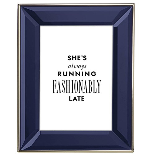 Kate Spade New York Charles Lane Indigo 5x7 Picture Frame, Blue Lacquered Metal with Gold Band