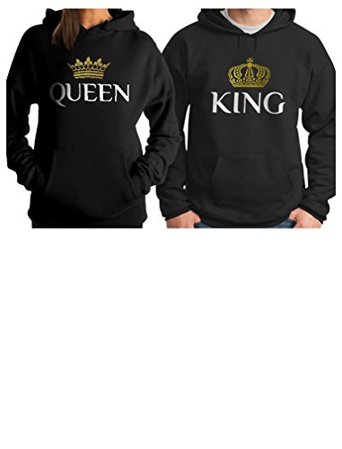 King & Queen Matching Couple Hoodie Set Valentine's Day Gift His & Hers Women Hoodie Women X-Large/Men ()