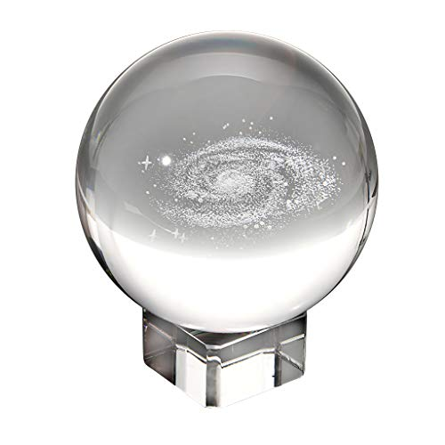 OwnMy Galaxy Crystal Ball Glass Sphere Display Globe Paperweight Healing Meditation Ball with Clear Stand for Creative Gift (3