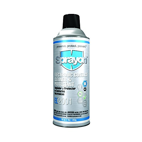 Sprayon S02001000-12PK EL2001 Electronic CONTACT Cleaner and Protectant Aerosol, 16 oz., Metal (Pack of 12)