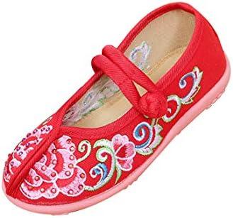 女の子刺繍入り靴中国風フラットラウンドヘッドシューズバックルストラップシューズ