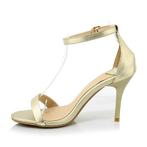 Amoonyfashion Femmes Matériaux De Mélange Ouvert Bout Pointes Stilettos Boucle Solide Sandales Or