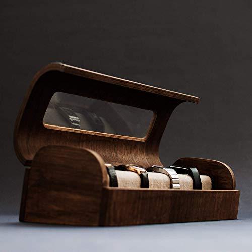 Relojero moderno de madera. Estuche para relojes exclusivo estilo vintage. Joyero de madera hecho a mano: Amazon.es: Handmade