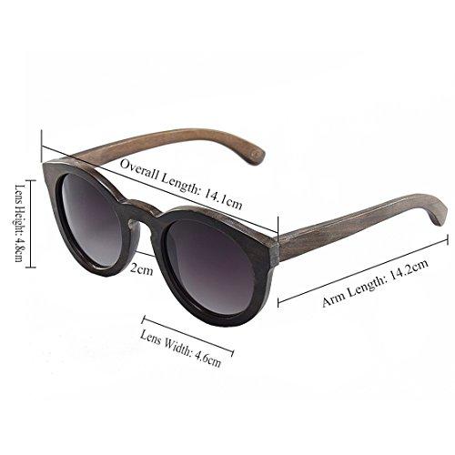 Sports Femme amp; Vintage Lunettes Adulte Sunglasses G002A Retro Homme Bois Soleil BEWELL Lunettes Wooden Mixte UV400 de Pure Lunettes BK Polarisées wCFX1qg