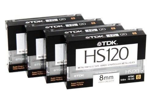 8mm Metal Particle Cassette Tape TDK HS120 120 Minute Blank Camcorder 4 Pack Hi8 and Digital 8 Compatible by TDK