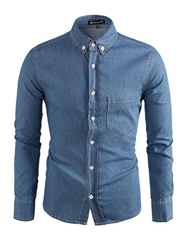 Allegra K Men Button-Collar Single Breasted Long Sleeves Denim Shirt Blue S