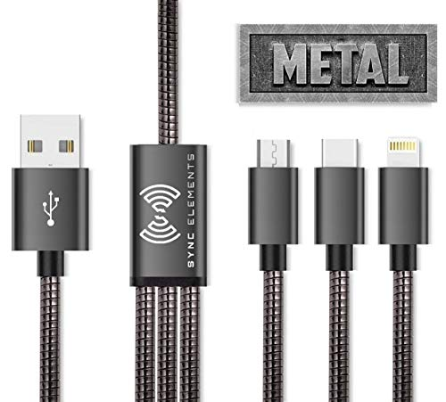 [Metal] Multi Charging Cable, SYNC-E 3 in 1 Metal Braided Multi USB Charger, Durable & Flexible Charging Cord Compatible with Most Smart Phones & Pads -4ft ()