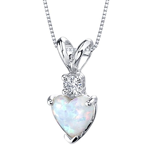 14 Karat White Gold Heart Shape Created Opal Diamond Pendant Diamond Filigree Pendant Necklace