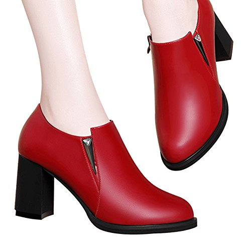 New Fashion Shoes Element Sexy Leather Heels Women Hoxekle Thick Spring Red High Shoes gq1zWwn4x
