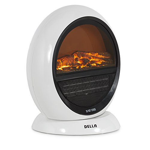 Della 1500W Freestanding Electric Fireplace with 3D Flame Effect Oscillating, White Della Infrared Heaters