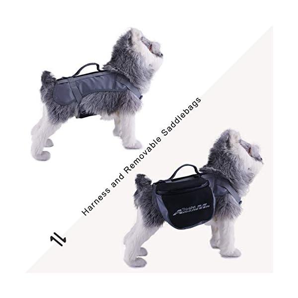 ThinkPet Outdoor Dog Backpack Reflective Saddle Bag - Dog Pack Double Bag for Hound Travel Rucksack for Medium Large Dogs 7