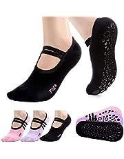 ASEEN Calcetines de Yoga, 3 Pares Calcetines Pilates Antideslizantes de Mujeres Deportivos para Ejercicio Interior, Cómodo Ballet, Baile y Fitness