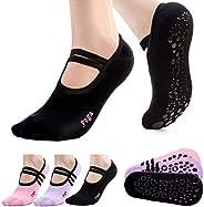 ASEEN Calcetines de Yoga, 3 Pares Calcetines Pilates Antideslizantes de Mujeres Deportivos para Ejercicio Inte