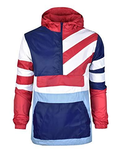 SCREENSHOTBRAND-S51911 Stripe Color Block Lightweight Kangaroo Pocket Windbreaker Jacket-Pink-Large