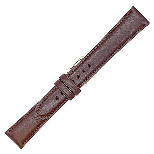 20mm Long British Brown - Padded Stitched - English Bridle Leather - Watch Strap Band - Gold and Silver Buckles Included - Factory Direct - Made in USA by Real Leather Creations FBA86