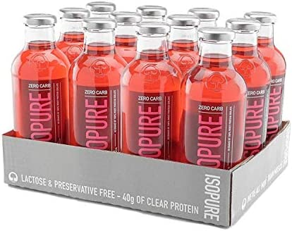 Isopure 40g Protein, Zero Carb Ready-To-Drink- Alpine Punch, 20 Ounce Pack of 12